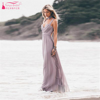 Gray Sexy Spaghetti Beach Bridesmaid Dresses Soft Chiffon Long Wedding Guest Dresses Cheap Wedding Event Wear  Z694