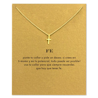 Hot Sale Sparkling Cross gold color plated  Pendant necklace Clavicle Chains Statement Necklace Women Jewelry