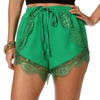 Sale-green Lace Shorts