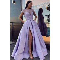 Prom Dresses with Slit Skirt, Graduation School Party Gown, Winter Formal Dress, DT0011