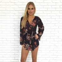 Riley Floral Wrap Cover Up Romper