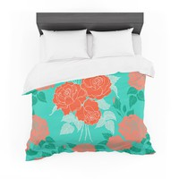 "Anneline Sophia ""Summer Rose Orange"" Teal Green Featherweight Duvet Cover"