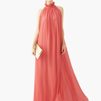 Pink Ruffled Halterneck Off Shoulder Princess Maxi Dress