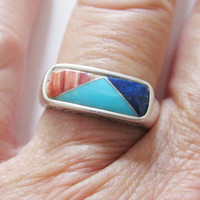 Carolyn Pollack Relios Multi Gemstone Ring Sterling Silver Retired QVC Size 7