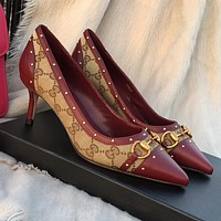 GUCCI vintage letter jacquard ladies temperament stitching pumps