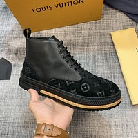 lv louis vuitton men fashion boots fashionable casual leather breathable sneakers running shoes 796