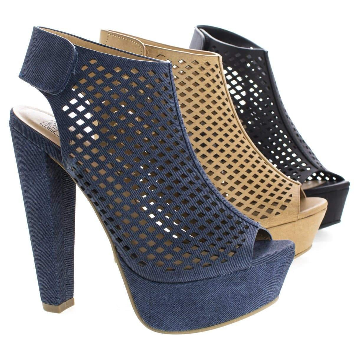 Image of Rotary By Speed Limit 98, Peep Toe Perforated Chunky Heel Platform Pumps