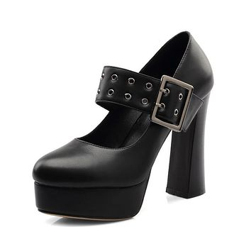 Women's Chunky Heel Pumps High Heel Platform Belt