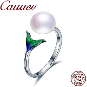 Natural Freshwater Pearl 925 Sterling Silver Female Mermaid Tail Adjustable Finger Rings for Women Wedding  Jewelry