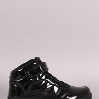 Mirror Patent Lace Up High Top Sneaker