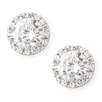 Pave Cubic Zirconia Stud Earrings - Fantasia by DeSerio