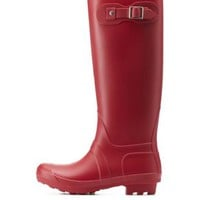 Red Bamboo Matte Rubber Rain Boots by Bamboo at Charlotte Russe