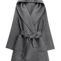 Gray Hooded Long Sleeves Coat
