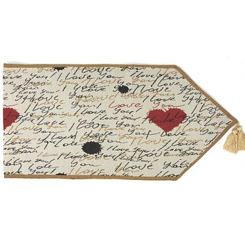 Tache Romantic I Love You Valentine's Beige Woven Tapestry Table Runner (18111)