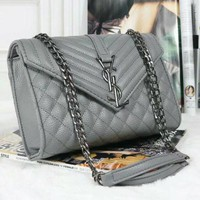 YSL Yves Saint laurent Women Fashion Leather Satchel Shoulder Bag Crossbody Grey G