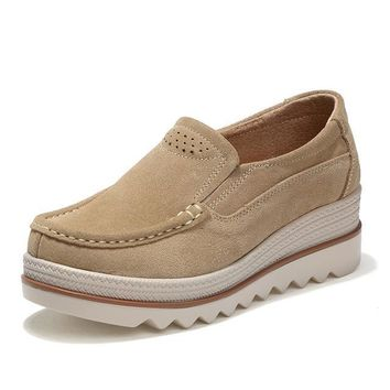 Autumn women flats shoes thick soled platform shoes leather suede casual shoes slip on flats creepers moccasins