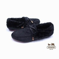 COACH Women Fashion Leather Winter Warm Fur Flats Shoes