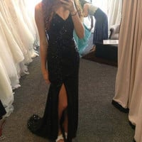 V-Neck Sparkly Black Slit Prom Dresses