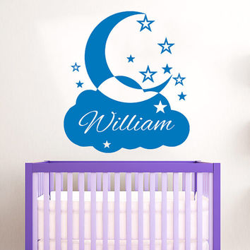 Cloud Wall Decal Name Vinyl Sticker Personalized Custom Name Stars and Moon Clouds Decals Kids Baby Name Nursery Boys Room Decor AN672