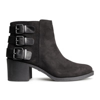 H&M - Ankle Boots with Straps - Black - Ladies