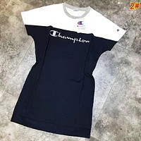 Champion Summer Fashion New Bust Embroidery Letter Leisure Women Contrast Color Short Sleeve Dress 2#