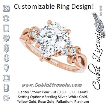 Cubic Zirconia Engagement Ring- The Adele (Customizable 7-stone Pear Cut Design with Tri-Cluster Accents and Teardrop Fleur-de-lis Motif)