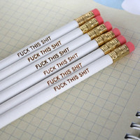 MATURE swear pencils 6 six white pencils of by thecarboncrusader