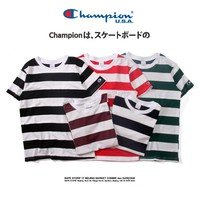 Champion Fashion Sea Tops Summer Short Sleeve Stripes T-shirts [11501027404]