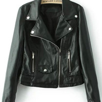Black Lapel Zipper Pockets Crop Faux Leather Jacket