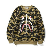 Bape shark camouflage couple trend round neck sweater Green
