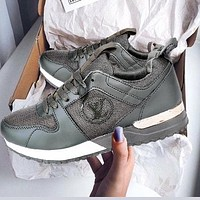 Louis Vuitton LV Trending Men Women Casual Sport Shoes Sneakers Army Green