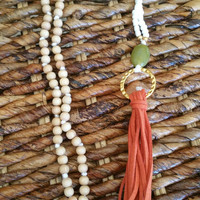 Long beaded earth tone leather tassel necklace