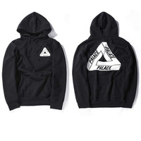 High Quality Mens Palace Skateboard Hoodie Male 100% Cotton Triangle Sweat Palace Sweatshirt Black Palace Hoodie