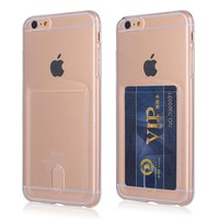 Credit Card Slot Transparent TPU Phone Cases For iPhone X 7 8 6S 6 Plus 8Plus Case Ultra Slim Crystal Clear Silicon Back Cover