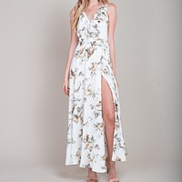 Final Sale - Isabella Floral Maxi Dress in White