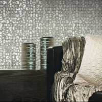 Mosaic Tiles Wallpaper in Light Grey and Metallic design by Studio 465