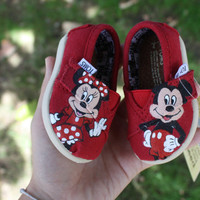 """Mickey and Minnie Mouse """"Tiny Toms"""" Original Custom Acrylic Painting for Toms Shoes"""