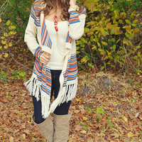 Soar Above The Sky Cardigan: Tan/Multi