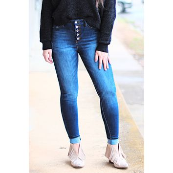Karly Button Fly Curvy Fit Skinny Jeans