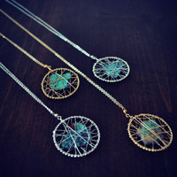 FARRAH Wire Wrapped Raw Turquoise Silver or Gold Long Layering Earthy Handmade Necklace