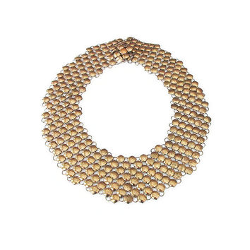 Chainmaille Necklace, Mesh Necklace, Gold Tone, Wide Collar, Rau Fastener Co, Art Deco, Vintage Necklace, Vintage Jewelry