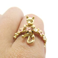 3D Kitty Cat Shaped Animal Ring on a Floral Band in Gold