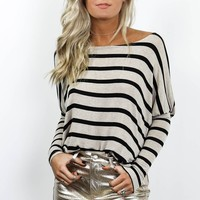 Just Being Honest Off The Shoulder Striped Top