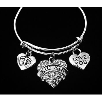 New Big Sister Gift Jewelry for Girls Child Sizes Available Expandable Silver Charm Bracelet Adjustable
