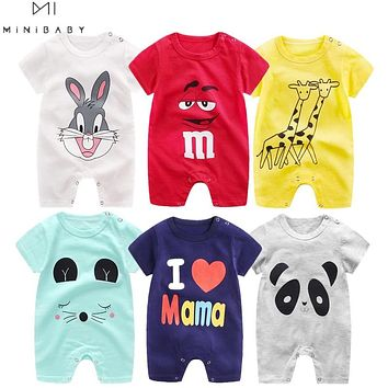 Cheap cotton Baby romper Short Sleeve baby clothing One Piece Summer Unisex Baby Clothes girl and boy jumpsuits Giraffe