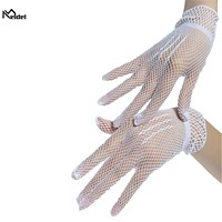 Creative design fishnet bridal gloves beautiful flower girl white wedding gloves beaded for bride wedding accessories