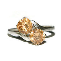 Citrine Ring, Two Manmade Stones, Bypass Setting