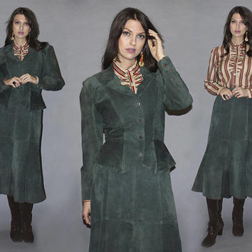 Vintage 80s 90s SUEDE SKIRT and JACKET Set / Pine Green Power Suit, Two Piece / High Waisted, Trumpet Skirt / Strong Shoulders, Leather/ S M
