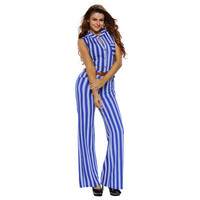 Fashion Women Stripes Printed Sexy Blue Casual High Waisted Sleeveless V Neck Erotic Trousers Pants _ 12459