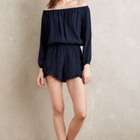 Fraiche Off-The-Shoulder Romper in Navy Size: